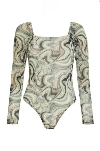 Petite Green Marble Print Long Sleeve Bodysuit